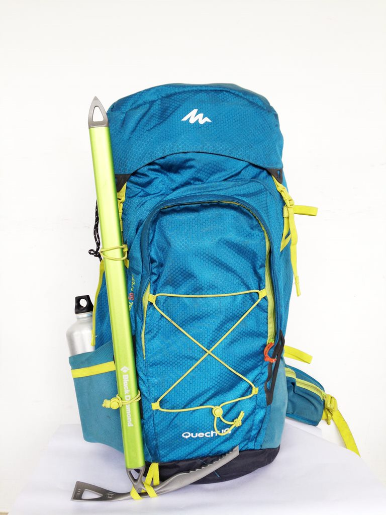 Decathlon Quechua Forclaz 50 speed backpack packed and ready to go for a trek